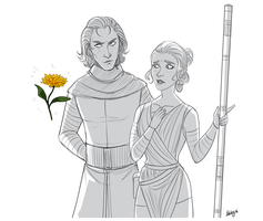Kylo Ren and Rey by Adelaiy