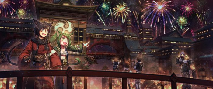 [Commission] Kugane Fireworks Festival by Porforever