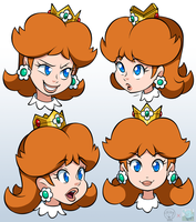 Princess Daisy Sketches (Colored) by SuperSegaSonicSS