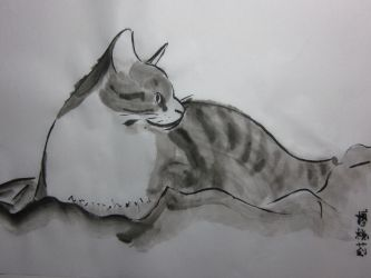 Sumi-e Cat by cognink