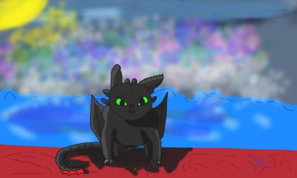 Toothless in red sand beach by NoNicksAvaliable