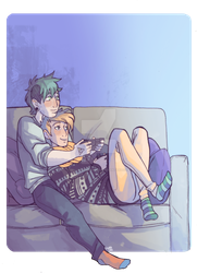 COMMISSION: Cuties playing video games by spacerocketbunny