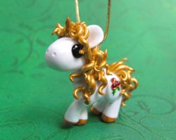 Gold Christmas Unicorn Onament by DragonsAndBeasties