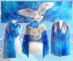Silk Scarf Barn Owl by MinkuLul