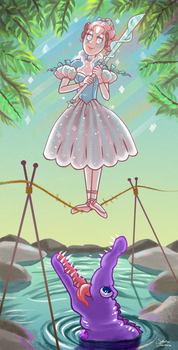 Tight Rope Pearl + Crocodile Amethyst by Marshmallow-Monster