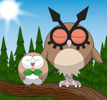 Rowlet and Hoothoot: daytime nap