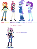 Moondancer, Trixie, Starlight and Sunset Fusion by MidnightDaydreamStar
