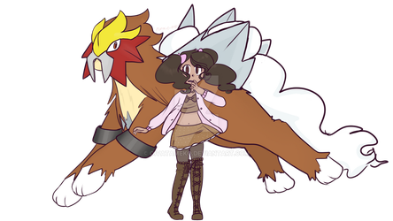 Pokemon oc with Entei by OivaTameko
