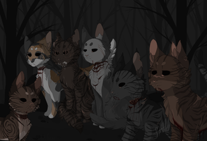 Dark Forest Cats *GORE* by saeshells