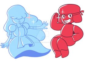 Ruby and Sapphire by deviousSprite
