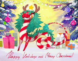 [CLOSED] Raffle adopt - Candycane Dragon by visualkid-adopts