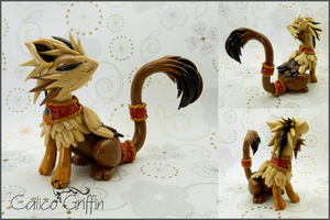 Rokka the royal griffin - polymer clay by CalicoGriffin