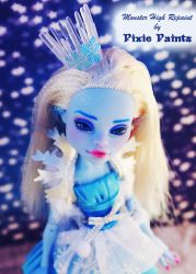 Snow Princess Abbey - Monster High Repaint by PixiePaints