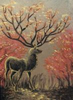 Art Card Autumn Stag by Reymonkey