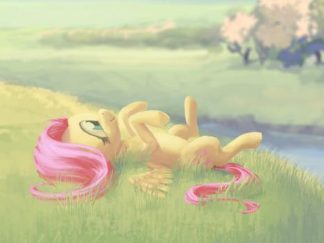 Fluttershy Daydreaming by Hunternif