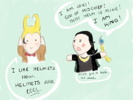 Loki and the Doctor - Helmets Are Cool by DaleksinWonderland
