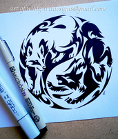 Courage + Fear Yin Yang Wolves - Tribal Design by WildSpiritWolf
