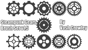 Steampunk Gear Brush Set 01 by Vash Crowley by Vash-Crowley