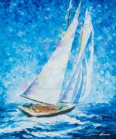 Playa Del Carmen Sailing by Leonid Afremov by Leonidafremov