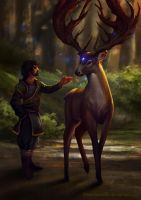 Deer and stranger by Deathstars69