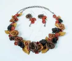Copper rose Garden Choker by WarriorWhite