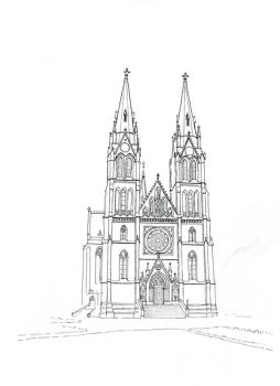 Church of St Ludmila in Prague - lineart by MatejCadil