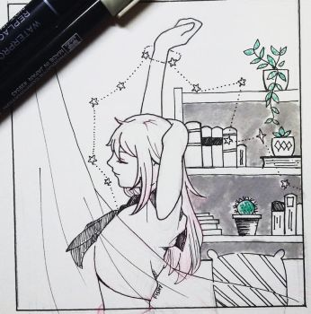 Inktober (Day 8) She by fishy-umbrella