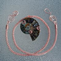 Copper Viking Knit and Ammonite Necklace by magpie-poet