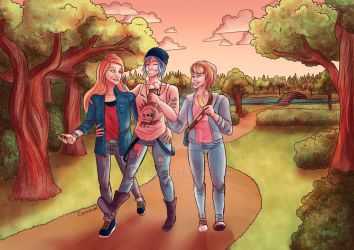 Life is Strange Trio in a park by Carmeval