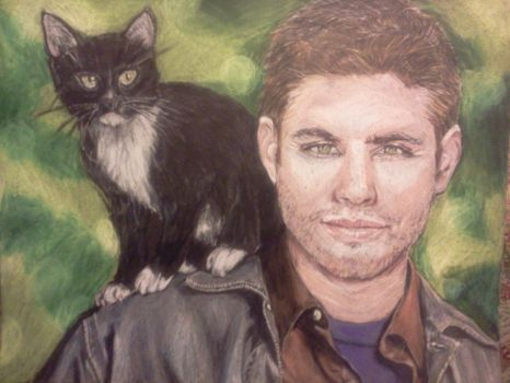 Dean Winchester and Cat by Evanoch