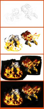 Darkness and Fire: Process by FinikArt