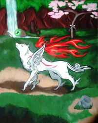 Okami Painting by SheltieLuv