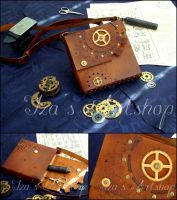 Steampunk Leather Pouch IX by izasartshop