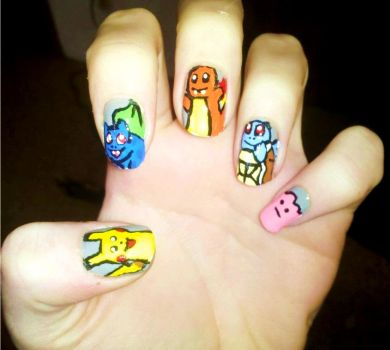 Pokemon nail art by chelseapoops on deviantart kanto starter pokemon nails 2 by chelseapoops prinsesfo Choice Image