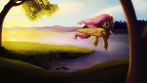 Fluttershy hurrying home by Camyllea