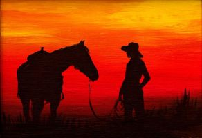 The cowgirl and her horse at sunset by BozhenaFuchs