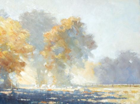 Autumn Morning Mists with Cattle by litka