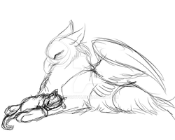 Griffin n kitty-WIP by Husgryph
