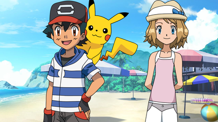 RQ - Ash and Serena in Alola. by Aquamimi123