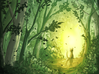 Speedpaint - Cat in forest by MsLilly