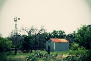 Shack And Windmill by PhillyPuddy