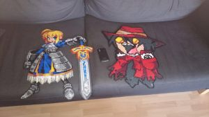 Another picture of Saber with Chibi Alucard by MagicPearls