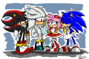 [Roses for Rose] Sonic, Amy, Shadow and Silver by KatTheFalcon