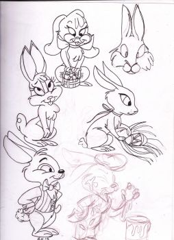 Easter Bunny Character Concepts #2 (line art) by Voodoochild99