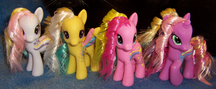 G1 to G4 Rainbow Curl Custom Ponies - Group Shot by Alipes