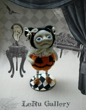 Halloween art doll. Pumpkin. LeRu Gallery by LeRuGallery