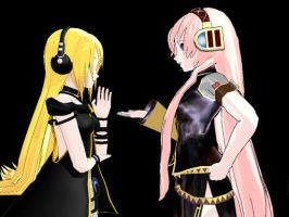 Trying to Get Along (MFV3)-Lily, Luka by Lily-the-Vocaloid
