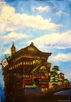 Spirited Away bathhouse...night and day :)) by WormholePaintings