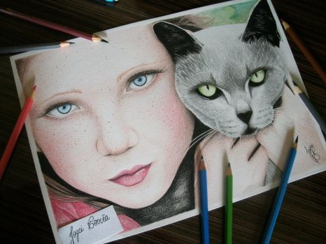 Girl and cat by volpita