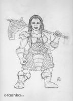 Dwarf Female Sketch by rashka-jm